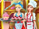 Anna and Cinderella at the Cupcakes Factory