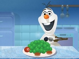 Olaf cooking Ice Cream Turtle Cake